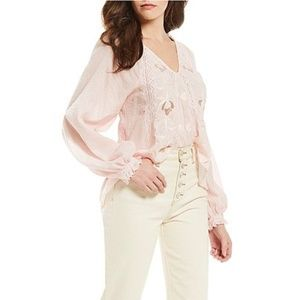 Free People Sivan Embroidered Blouse NWT